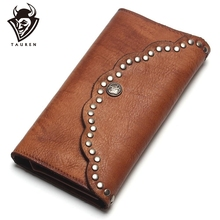 Tauren escova cor da embreagem âncora prego couro genuíno mulheres carteiras bolsa longo design de alta capacidade telefone celular bolso moeda bolsa