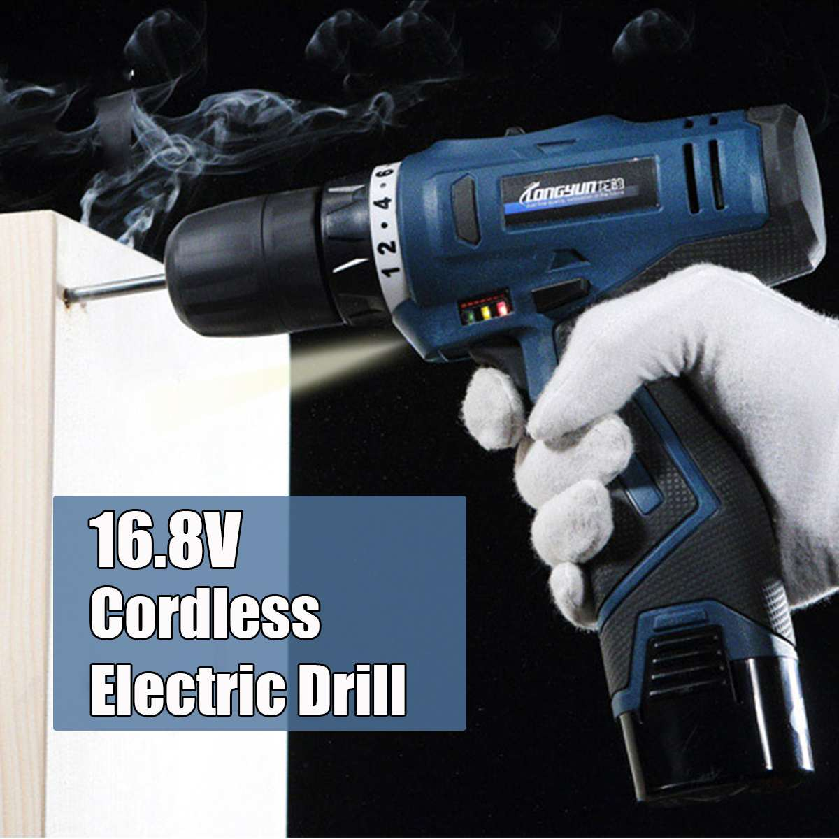 16.8V Li-ion Cordless Electric Drill Screwdriver Hammer Drill Driver Hand Kit Lithium-Ion Battery 2-Speed LED16.8V Li-ion Cordless Electric Drill Screwdriver Hammer Drill Driver Hand Kit Lithium-Ion Battery 2-Speed LED