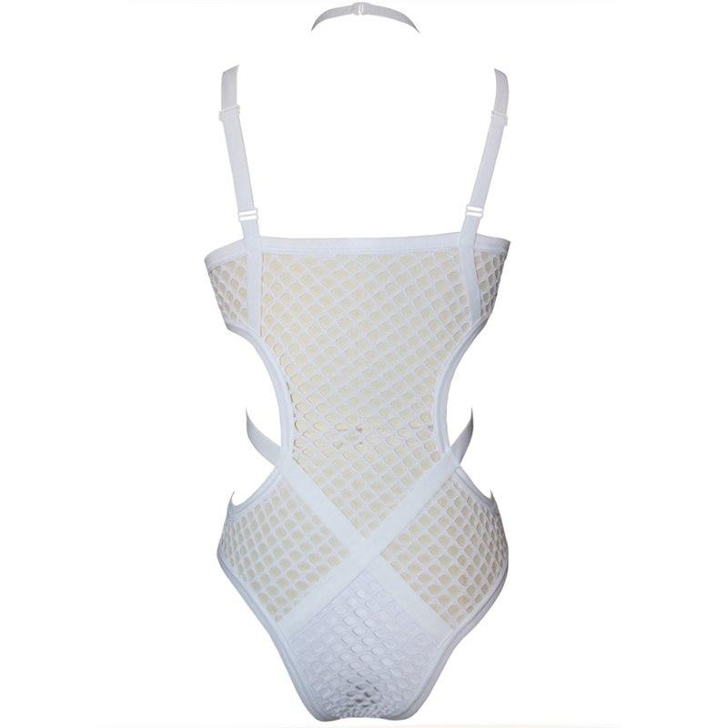 Rosetic Women Black Sheer Knit Net Mesh Sexy Women Swimwear One Piece Swimsuit Female Bather Bathing Suit Swim Halter
