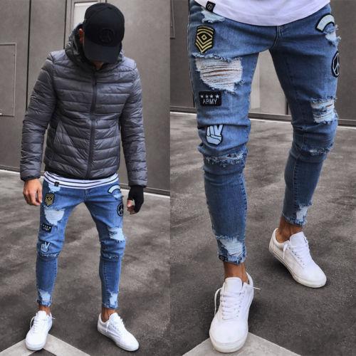 Men's Stretchy Ripped Skinny Biker Jeans Destroyed Taped Slim Fit Denim Pants AU