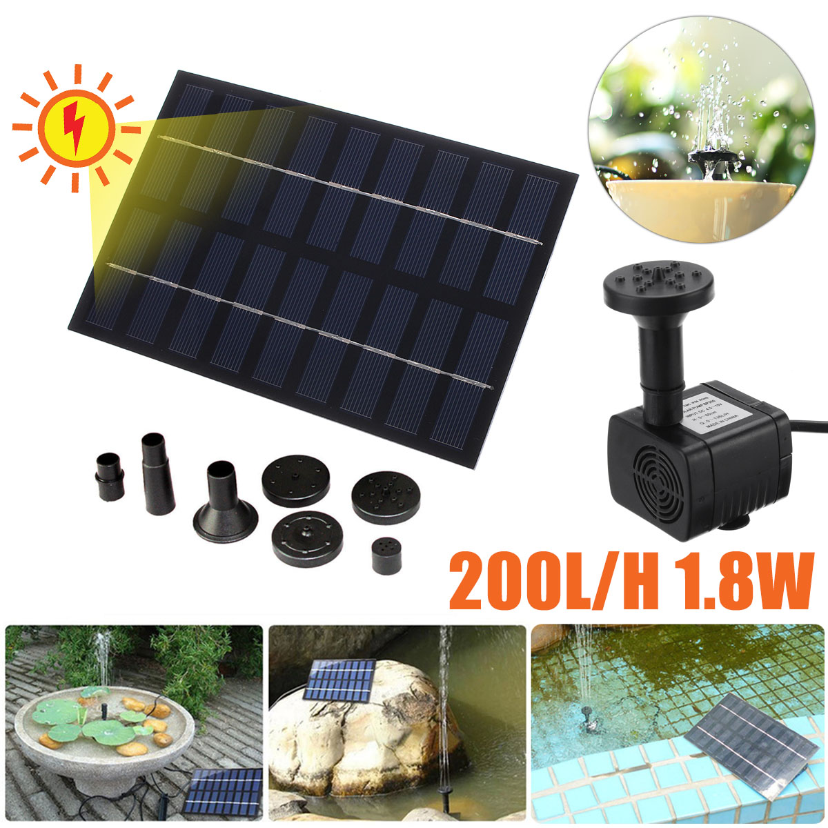 Waterproof Solar Water Pump 200L/H Solar Panel Power Fountains Water Pumps Garden Pool Pond Rockery Fountain Watering System