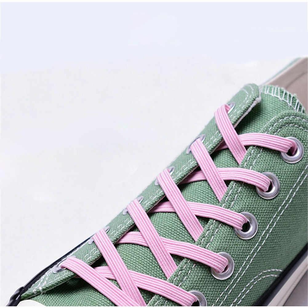 1 para elastyczny leniwy bez krawata Shoelace z metalową klamrą dla Sneaker sport wielobarwne płaskie dzieci kobiety męskie sznurowadła sznurowadła
