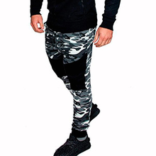 цена на Men Fashion Splice Camouflage Print Drawstring Elastic Waist Harem Pants Joggers Pants Male Casual Sport Trousers Slim Feet Pa