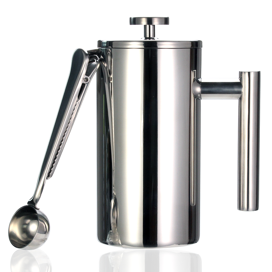 Best French Press Coffee Maker - Double Wall 304 Stainless Steel - Keeps Brewed Coffee or Tea Hot-3 size with sealing clip/Spoon Френч-пресс