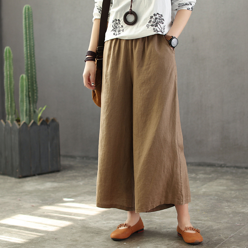 Leisure Time Ankle Length Pants Linen Literature Elastic Waist Flax Female Casual Big Loose Flat Cotton Wide Leg Trousers
