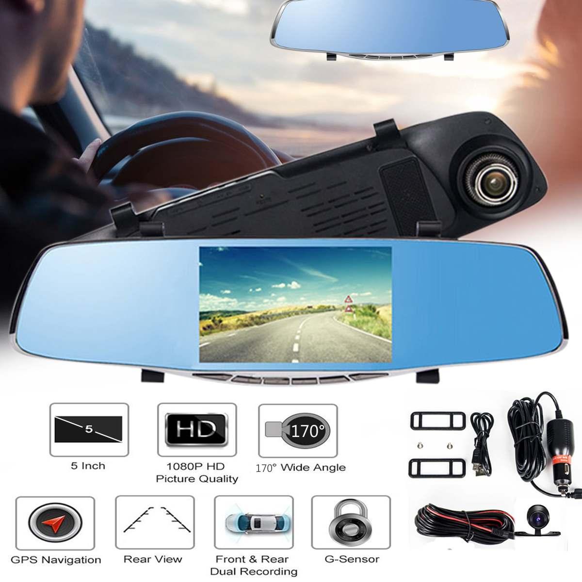 5 FHD 1080 P 170 градусов с двумя объективами dvr автомобиля камера Парковка зеркало заднего вида видео регистраторы камера ночного видения с GPS на...