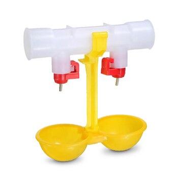 10 pces frango beber fonte dupla pendurado copo bola mamilo bebedores 25 cm equipamento de frango codorna alimentadores