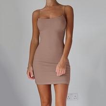 Women Sexy Mini Dress Bodycon  Hip Spaghetti Strap Club 2019 Summer Party Dresses Hot