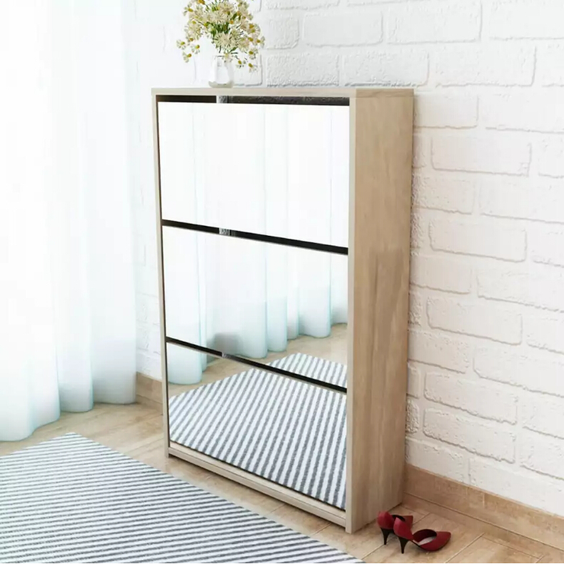 VidaXL Shoe Cabinet 3-Layer Mirror Oak 63x17x102.5 Cm Oak Stylish Mirrored Shoes Organizer Home Bedroom Shoe Racks Shelf CabineVidaXL Shoe Cabinet 3-Layer Mirror Oak 63x17x102.5 Cm Oak Stylish Mirrored Shoes Organizer Home Bedroom Shoe Racks Shelf Cabine