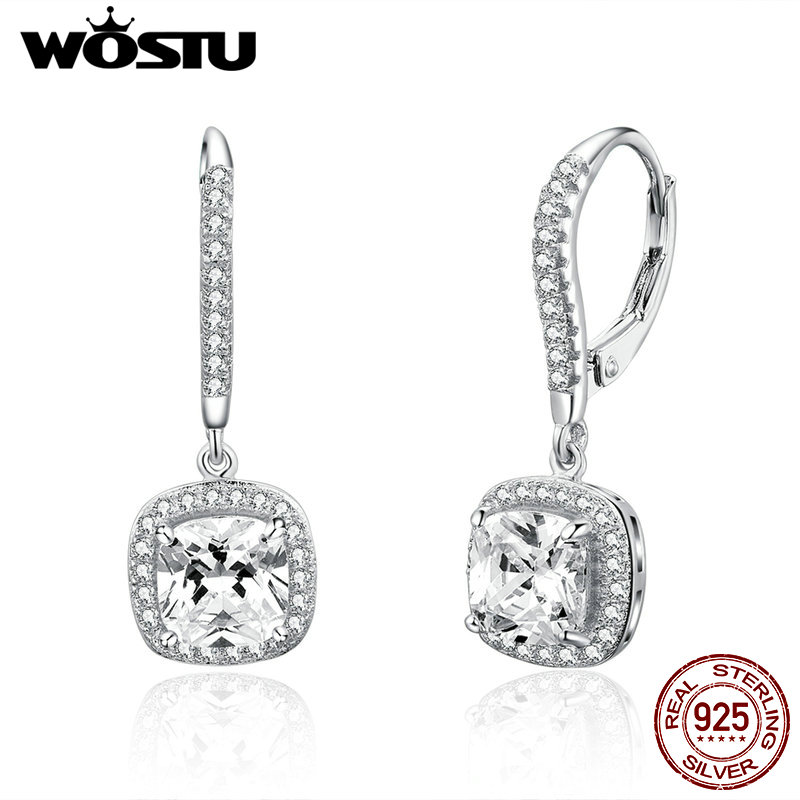 WOSTU Drop-Earring Clear 925-Sterling-Silver Women Jewelry Fashion Brand Square