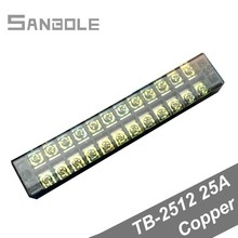 TBC-2512/TB-2512 Terminal Block Fixed Type 25A 600V 12 Position 12P 0.5-2.5mm2 Connection Electrical Copper