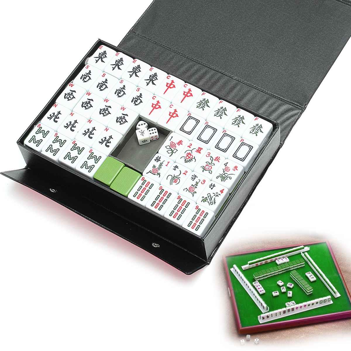 144 Tiles Portable Chinese MahJong Rare Game Set Retro MahJong + Custom Fit Box Entertainment Board Game MahJong Fun Family Game