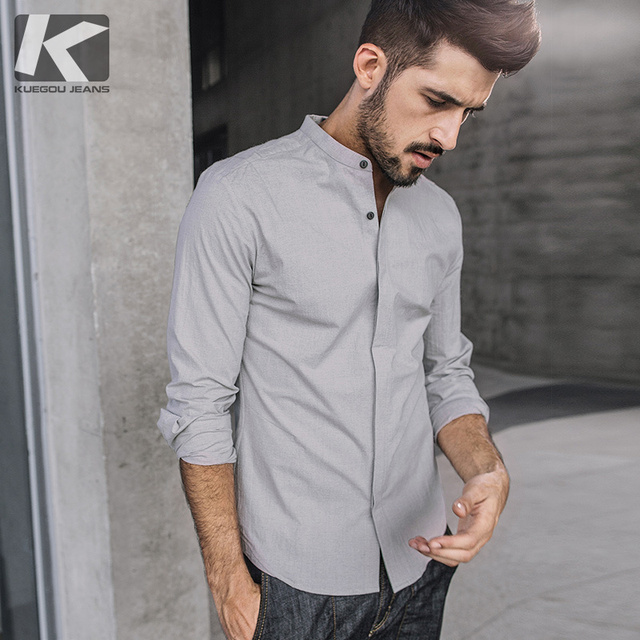 KUEGOU New Spring Mens Casual Shirts Black Gray Solid Color For Man's Long Sleeve Slim Fit Brand Clothing Male Wear Blouse 01361