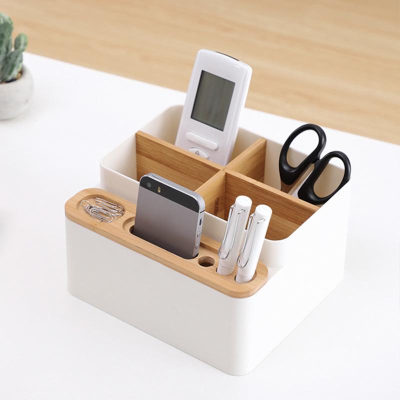 Storage-Box Makeup-Organizer Desk Desktop-Compartment Coffee-Table Multi-Function Bamboo