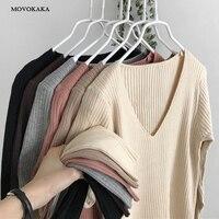 Свитер вязаный осенне-зимний свитер женский офисный винтажный пуловер белый с черным свитером женский свитер с v-образным вырезом женский к...