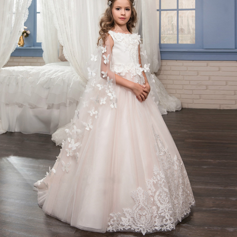 New Princess Pink Lace A-line Flower Girls Dresses For Wedding With Butterfly Shawl Girls First Communion Prom Dresses
