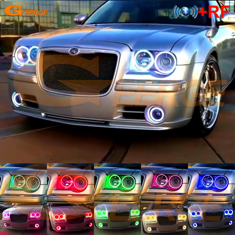 For Chrysler 300C 2004 2005 2007 2008 2009 2010 RF Bluetooth-kontroller Multi-farger Ultralys RGB LED Angel Eyes kit
