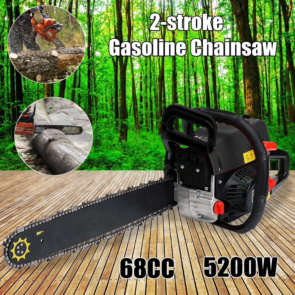 Professional Wood cutter 5200W 68CC, Mini Gasoline Chainsaw Machine Cutting Wood 2-stroke Gas Chain Saw with 20 BladeProfessional Wood cutter 5200W 68CC, Mini Gasoline Chainsaw Machine Cutting Wood 2-stroke Gas Chain Saw with 20 Blade