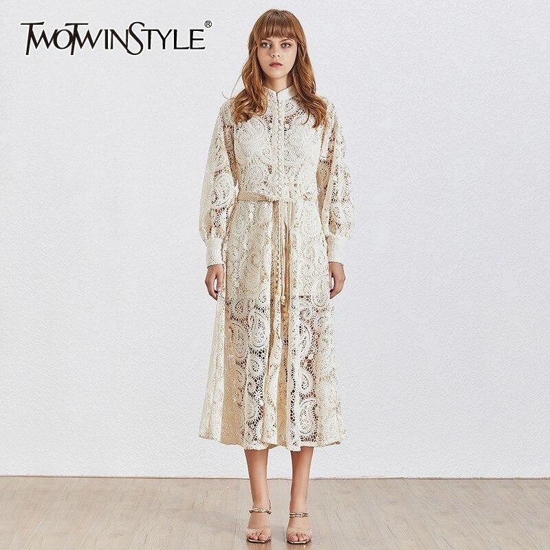 Twotwinstyle 우아한 속이 빈 여자 드레스 스탠드 랜턴 슬리브 높은 허리 붕대 조끼 미디 드레스 여성 패션 2019-에서드레스부터 여성 의류 의  그룹 1