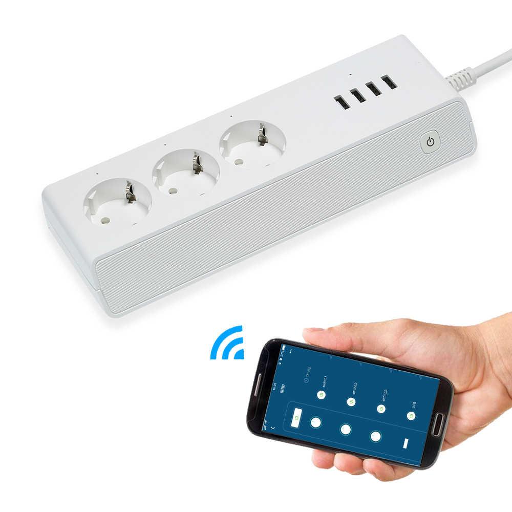 Inteligentny Wifi listwa zasilająca listwa przeciwprzepięciowa wielu gniazda zasilania 4 Port USB sterowanie głosowe dla Amazon Echo Alexa Google domu zegar