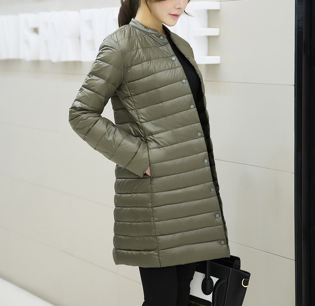Woman Spring Padded Warm Coat Ultra Light Duck Down Jacket Long Female Overcoat Slim Solid Jackets Winter Coat Portable Parkas 5