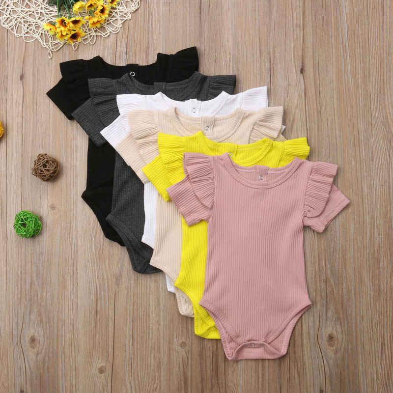 2018 Gloednieuwe Pasgeboren Baby Kids Baby Meisjes Jongens Korte Mouw Bodysuits Ruches Mouwen Effen Katoenen Jumpsuits Outfit 0- 24 m