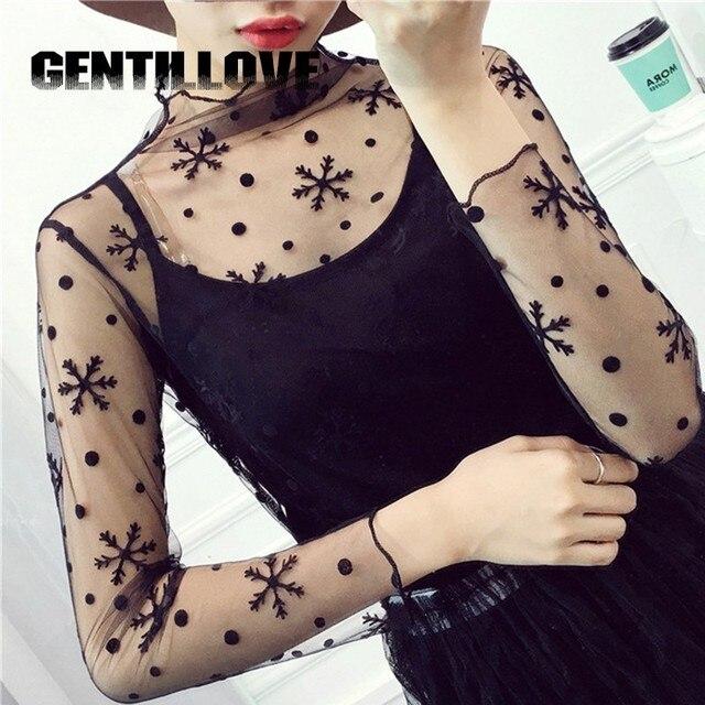 Gentillove весна лето кружевные блузки рубашки женские топы сексуальные сетчатые блузки с длинным рукавом черная блузка в горошек звезда полосатая рубашка
