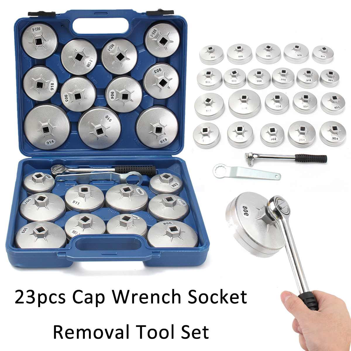 23pcs Aluminum Alloy Cup Type Oil Filter Cap Wrench Socket Wrench Vehicle Maintenance Filter Wrench Tool