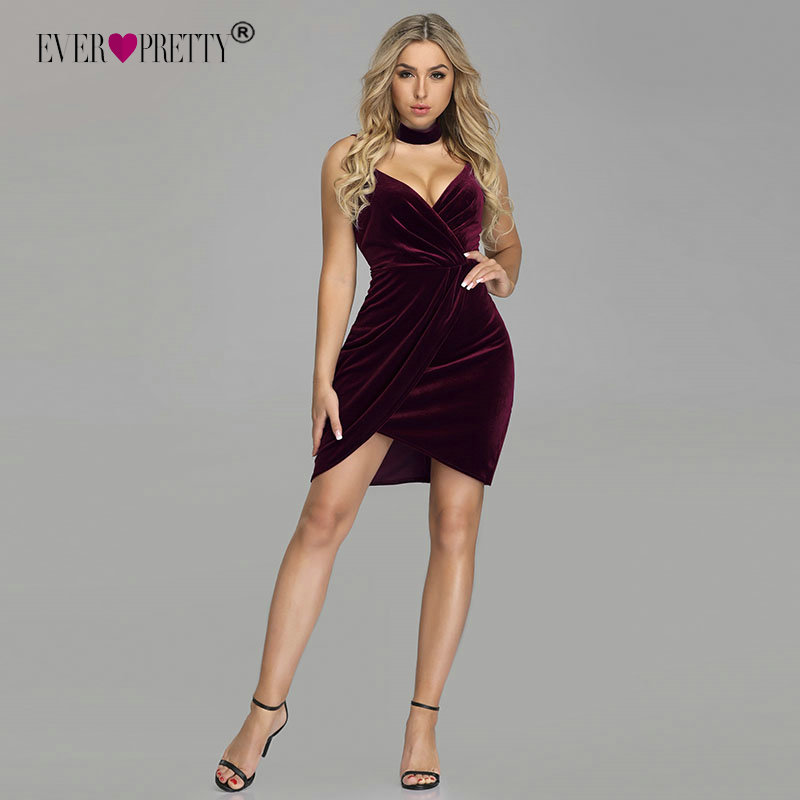 36d6d9d42713 Sexy Homecoming Dresses Ever Pretty Deep V-neck Mini Burgundy Velvet Short Party  Gowns Winter