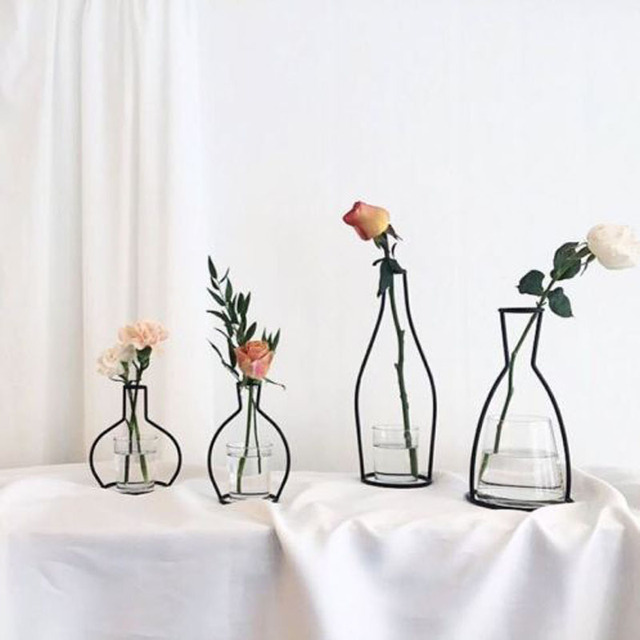 New Style Home Party Decoration Retro Iron Line Flowers Vase Metal Plant Holder Modern Solid Home Decor Nordic Styles Iron Vase 3