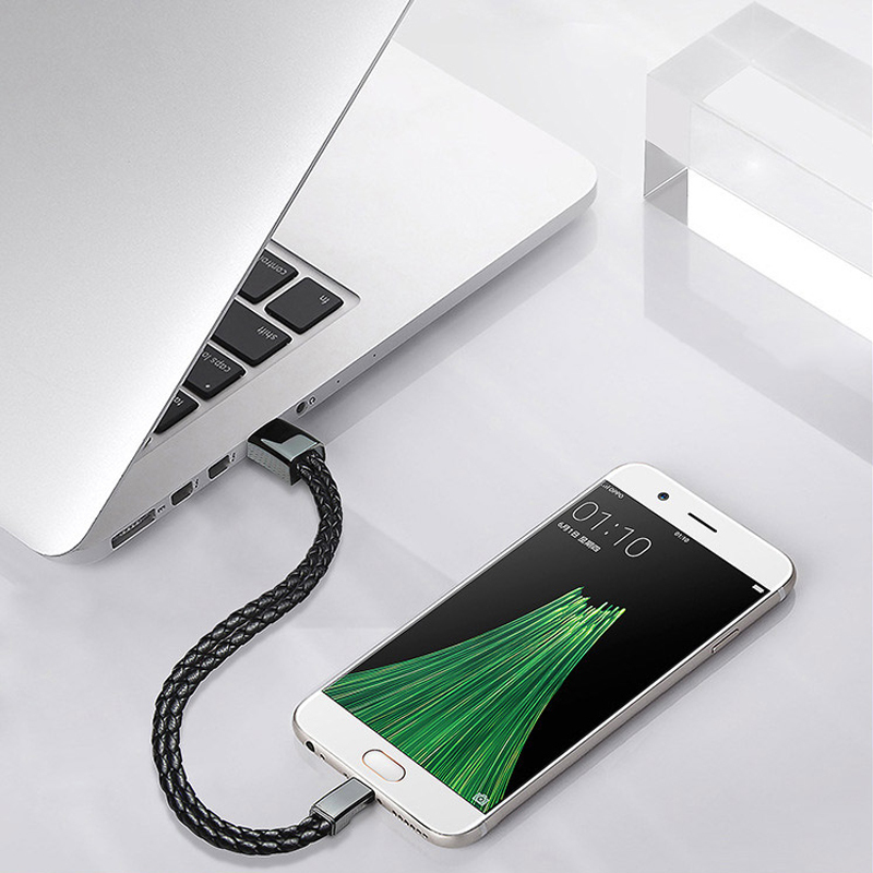 Fast Charging Mini Micro USB Cable Bracelet Outdoor Portable Sport Leather Charger Data Sync Cord Android Type-C Phone Cable