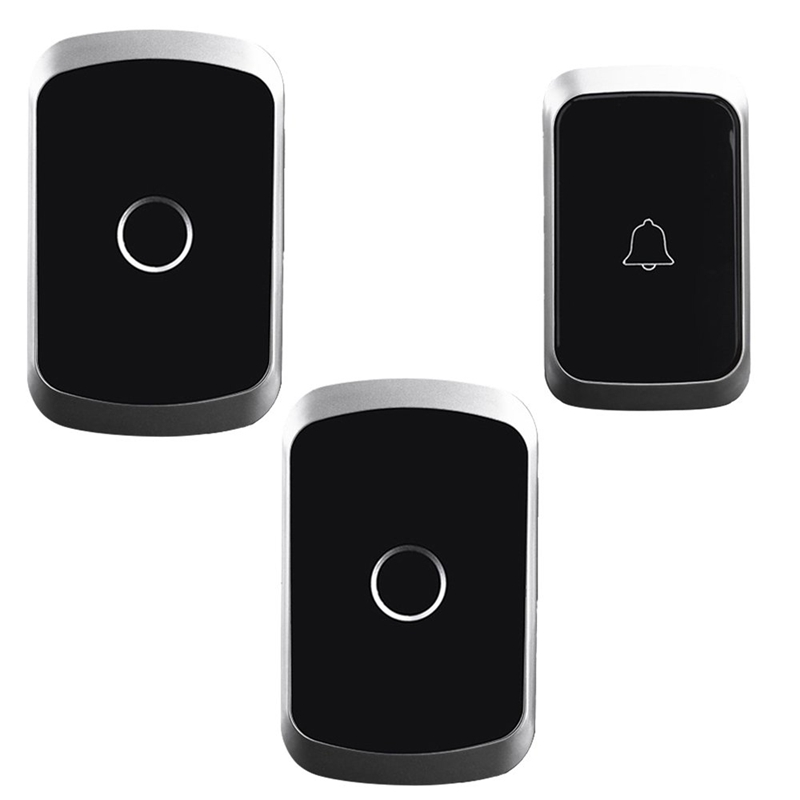 Cacazi Wireless Doorbell Waterproof 1 Battery Button 2 Receiver 300M Remote Smart Home Cordless Door Bell Chime(Eu Plug)