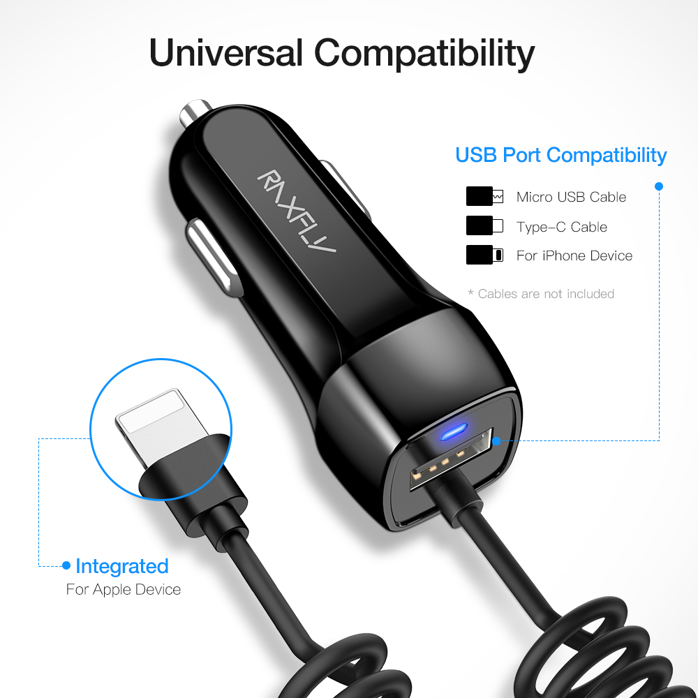 RAXFLY USB Car Charger With Micro USB Type C Cable Car Charging For iPhone X XR XS Max Car USB Adapter For Samsung S10 S9 S8 in Car Chargers from Cellphones Telecommunications