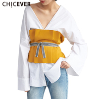 CHICEVER 2017 Summer Fold Tube Tops Women With Belts Lace Up Fashion Clothes