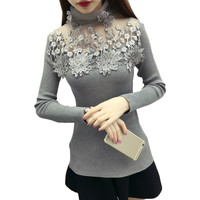 2019 Korean Fashion Women Sweaters And Pullovers Sueter Mujer Long Sleeve Turtleneck Solid Slim Sexy Hollow Elastic Lace Tops