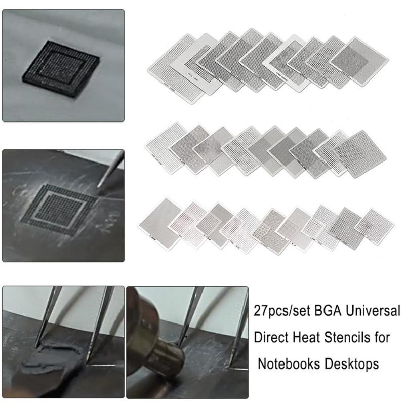 27pcs/set <font><b>BGA</b></font> <font><b>Stencils</b></font> <font><b>Universal</b></font> Direct Heated <font><b>Stencils</b></font> for Notebooks Desktops Motherboards Soldering Supplies Repair Tools image