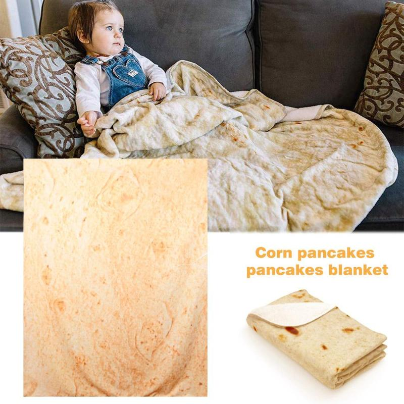 Snack Tortilla Pattern Blanket Square Burrito Shaped For Car Office Quilts  Shaped FFleece Throw Blanket Super Soft Home Textile