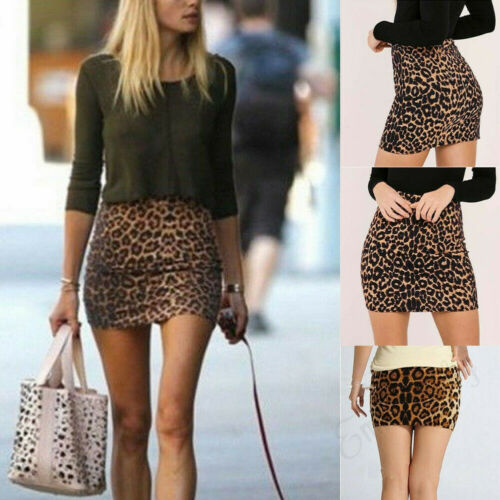 Summer Skirts Hot Womens Casual Leopard Printed Mini A Lined Skirt Elastic High Waist Mini A Lined Skirts in Skirts from Women 39 s Clothing