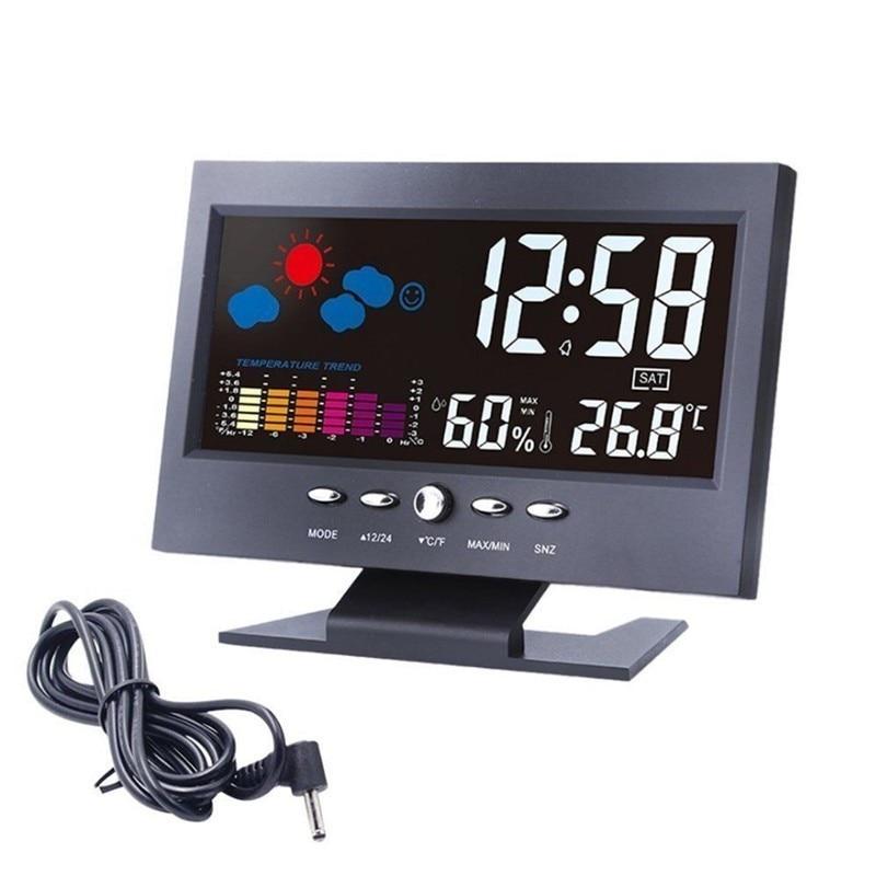 Led Schreibtisch Uhr Temperatur Feuchtigkeit Monitor Elektronische Digital Thermometer Hygrometer Wetter Prognose Tisch Uhr Luminated
