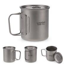 Lixada Outdoor Titan Tasse Becher Töpfe Geschirr Camping Tasse Picknick Wasser Tasse Becher von Kaffee Tee mit Deckel 300/350/420/550/650/750ml