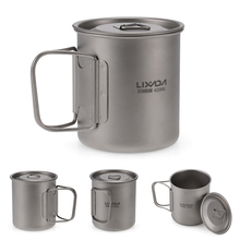 Lixada Outdoor Titanium Cup Mug Pots Tableware Camping Cup Picnic Water Cup Mug of Coffee Tea with Lid 300/350/420/550/650/750ml