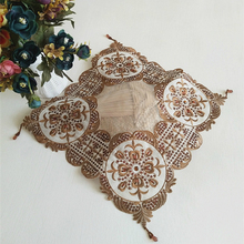 38*38CM Modern Lace Sequin Christmas Tablecloth Table Cover Mat Mantel Patchwork dust-proof Cloth Decoration