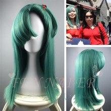 Dragon Ball Bulma зеленый парик для косплея синие короткие прямые волосы для лица хвост для взрослых