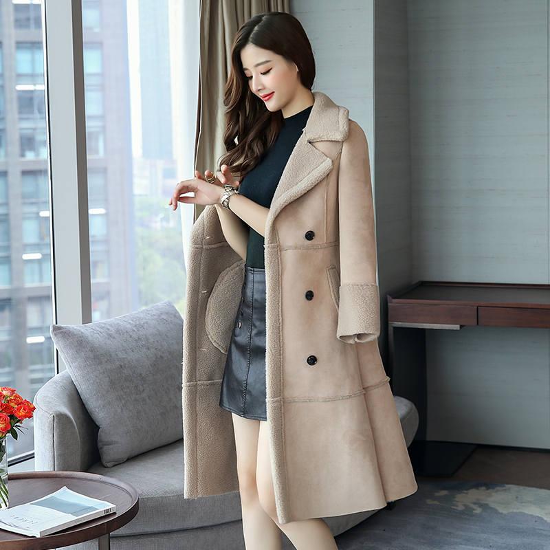 Agneaux Parka Ouatée 3xl khaki Light Coton Double Veste Faux gray Beige Manteau 2019 Long Épaissir Breasted Laine Tan Femmes D'hiver C3780 gUx7xOqdwn