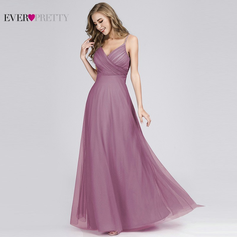 Purple Chiffon   Bridesmaid     Dresses   Long Ever Pretty A-Line Sleeveless V-Neck Backless Sexy Party   Dresses   Wedding Guest Gowns 2019