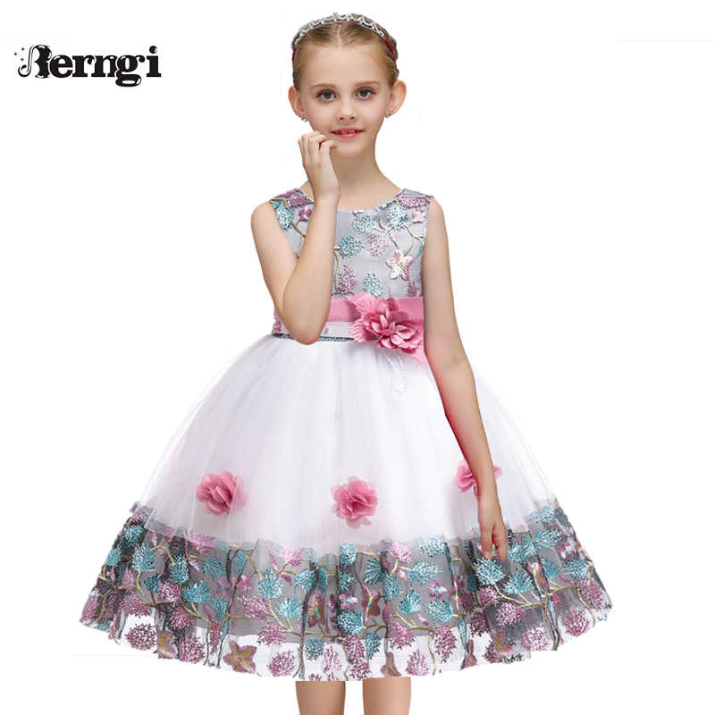 a0b14ff4 Berngi 2019 New Girls beautiful Flower Dresses Embroidery Design For Child  Kids Wedding Pageant Formal Gown