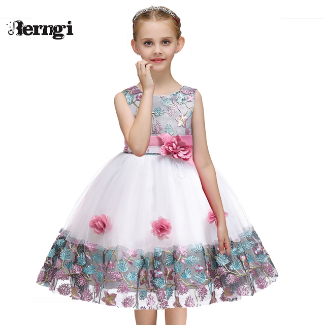 Berngi 2019 New Girls Beautiful Flower Dresses Embroidery Design For