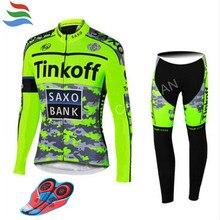 Новый комплект для велоспорта Tinkoff с длинными рукавами, Джерси для велоспорта Pro Team Ropa Ciclismo, быстросохнущая велосипедная одежда, комплект для велоспорта MTB, гелевая накладка