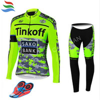 New Tinkoff Cycling Set Long Sleeves Cycling Jersey Pro Team Ropa Ciclismo Quick dry Cycling Clothing Set MTB GEL Pad