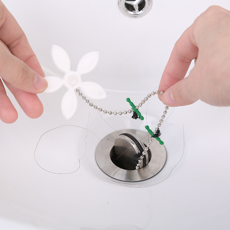 2pcs Multifunctional Floor Drain Bathroom Pipe Anti-blocking C Cleaning Hook Small Flower Shape Sewer Hair Dredge